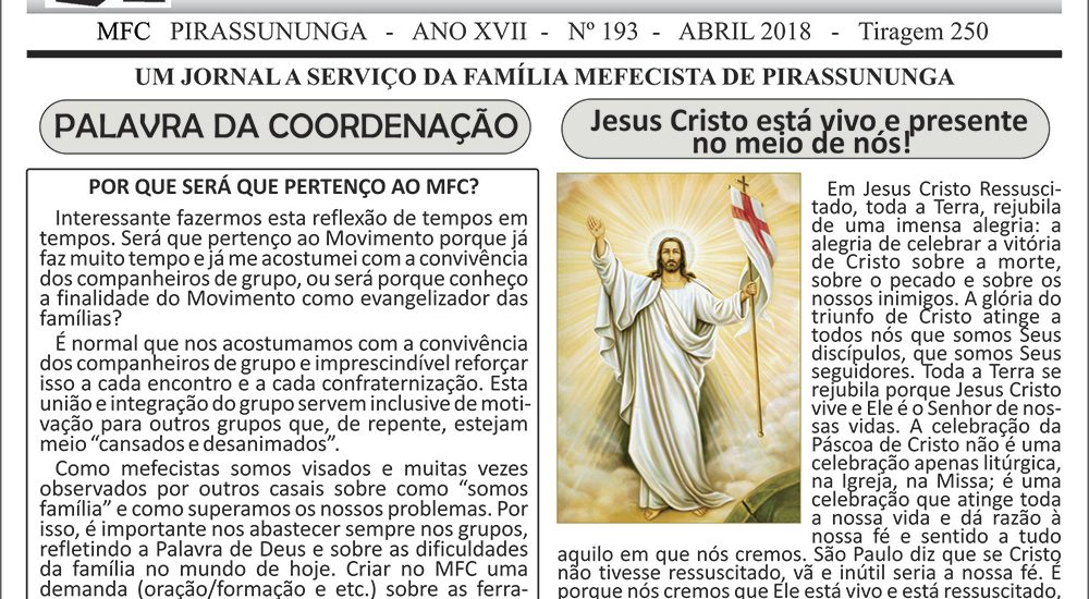 """MFC Pirassununga: Periódico """"O Mensageiro"""""""
