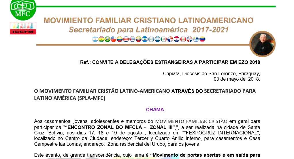 Carta Convocatória – Convite EZO 2018 Bolívia