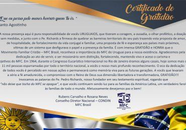 Certificado de Gratidão para o Uruguai