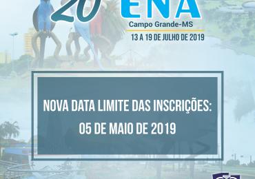 Prorrogação das Inscrições para o 20º ENA